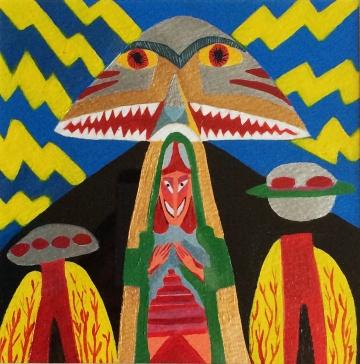 Journeys Through Jinnistan, acrylic on paper 2015
